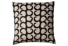 A playful winding vineyard print pillow!
