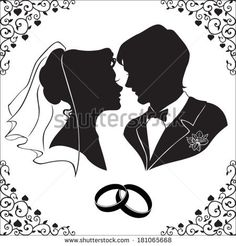 Vector silhouette of the bride and groom with beautiful framed isolated on  white background