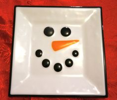 """Fused Glass Snowman Plate--10"""" square, white with black on Etsy, $29.00"""