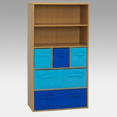 Keeping things cool ... We put organized and kid's room in the same sentence with this handsome 4D Concepts Pastel Storage Bookcase - Blue. What a perfect storage unit for a boy's room. A durable vacuum formed surface with gently rolled edges makes this large storage bookcase a functional and fun addition.The two upper shelves provide neat display space for kid's awards games pictures or knick-knacks. The three foldable medium-size navy and turqu