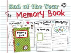 MEMORY BOOK: Interactive memory book for the end of the yearThis memory book includes 16 pages in both color and b&w.  No cutting required, just fold and staple.Includes pages for:* All About Me* Family* Favorite Things* School* Best Friend* When I Grow Up* Teacher* Classmates* Summer* Next Year* Autographs