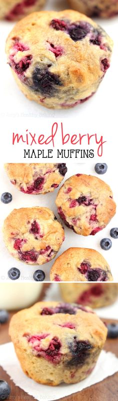 Maple Mixed Berry Muffins -- these healthy, clean-eating muffins practically taste like cupcakes! Under 150 calories too! (Sub half AP half WW for WW pastry flour) (Mix Berry) Healthy Muffin Recipes, Healthy Muffins, Healthy Sweets, Healthy Baking, Clean Eating Muffins, Clean Eating Desserts, Eating Clean, Clean Eating Cupcakes, Eating Healthy