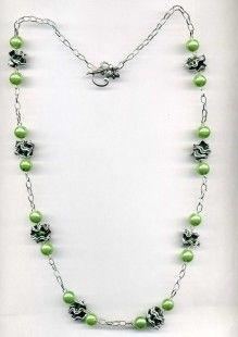 sautoir vert en capsules de café Nespresso recyclé perles vert nacré fermoir TOGGLE facile à mettre chaîne argentée longueur 73 cm - 5006907