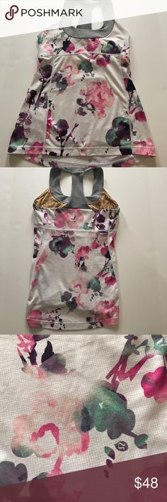 Lululemon tank Lululemon tank. My favorite print!   Built in bra. Cup inserts not included but can be picked up by any lululemon store for free. Excellent used condition lululemon athletica Tops Tank Tops