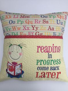 Yellow and Rainbow ABCs Girls Reading pillow Book pocket Book Pillow, Reading Pillow, Pillow Talk, Machine Embroidery Patterns, Machine Quilting, Embroidery Ideas, Quilt Patterns, Sewing Patterns, Cute Pillows