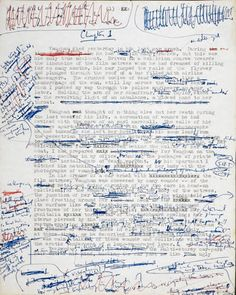 Sheet from a hand-edited typewritten manuscript of Crash by J. Ballard, from Ballard literary archive acquired by British Library, 2010 Creative Writing, Writing Tips, Writing Workshop, Writing Resources, Writing Help, J G Ballard, Raymond Carver, Text Dependent Questions, Copy Editing