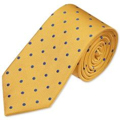 Gold and blue classic spot woven tie | Men's woven silk ties from Charles Tyrwhitt | CTShirts.com