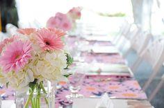 White hydrangea and pink gerberas!