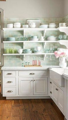 French Nordic Style Interior Design Inspiration {Part Soft pastels in aqua and pink in a beautiful white French Country kitchen by Decor de Provence.Soft pastels in aqua and pink in a beautiful white French Country kitchen by Decor de Provence. Interior Pastel, French Interior Design, Interior Design Kitchen, Interior Design Inspiration, Design Ideas, Interior Sketch, Interior Livingroom, Style Inspiration, Country Kitchen Designs