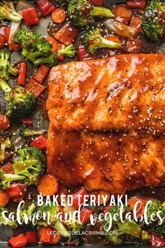 Easy and healthy One Pan Baked Teriyaki Salmon and Vegetables is a quick 30 minute meal with hearty vegetables and a tasty homemade teriyaki sauce onepan teriyaki salmon sheetpan easydinners Baked Teriyaki Salmon, Oven Baked Salmon, Baked Salmon Recipes, Seafood Recipes, Grilled Salmon, Terriyaki Salmon Recipe, Baked Samon, Salmon Marinade Baked, Food Dinners