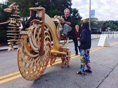 Boneshaker riding Bigwheel at the Boynton Beach Kinetic Art Festival in February 2015.