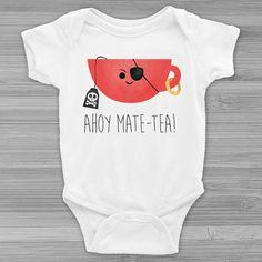 Ahoy Mate-tea  Infant Baby Rib Short Sleeve by ALittleLeafy
