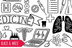 Doodle medical icons - especially the 24 h icon