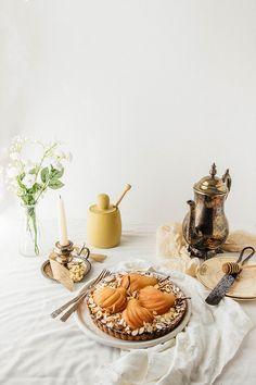 Poached Pear Tart with Vanilla Bean-Champagne Custard & Almond Flour Crust | TermiNatetor Kitchen