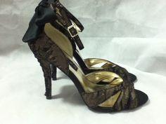 43ca2eb9fa8 STEVEN by Steve Madden Black   Nude Lace Pumps Heels w Bow Size 7.5 M Cruze