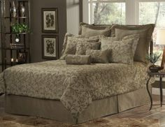 Elite Grayson 11-Piece Super Pack, Queen by leggett & platt - home textiles. $249.00. A lovely soft green and brown set with the look of embroidered leaves and stems. 2 Shams/ 1 accent pillow/ 2 euro covers/ 2 euro inserts. Comforter 97-inch by 97-inch, bed skirt 18-inch drop with split corners, kidney pillow 12-inch by 18-inch, accent 18-inch by 18-inch,Shams 30-inch by 25-inch, euro 26-inch, bolster 9-inch by 19-inch. A lovely soft green and brown set with the look of embro...