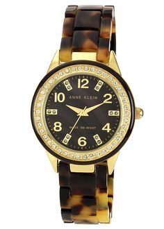 Anne Klein Women's 10/9956BMTO Swarovski Crystal Accented Gold-Tone Tortoise Resin Watch -- Check out this great product.