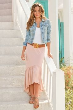 Pale pink midi high/low skirt with a jean jacket & white t-shirt. My high-low skirt goes up a little more, and my jean shirt is a tad bit lighter Dress Me Up, Dress Skirt, Midi Skirt, Modest Fashion, Fashion Outfits, Women's Fashion, Stylish Outfits, Cool Outfits, Unique Clothes For Women