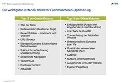 Die wichtigsten Kriterien effektiver Suchmaschinen-Optimierung