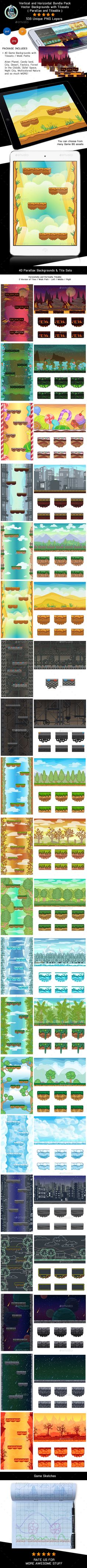 40 Vector Game Backgrounds with Tilesets - Horizontal and Vertical (Backgrounds)