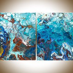 Fluid art acrylic fluid painting Abstract painting Turquoise
