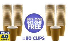 BOGO Gold Paper Coffee Cups 12oz 40ct - Party City