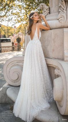 "Aline Wedding Dresses berta fall 2019 muse bridal spaghetti strap deep v neck full embellishment open side slit skirt sexy romantic bodysuit a line wedding dress backless chapel train bv -- MUSE by Berta 2019 ""Barcelona"" Wedding Dresses Slit Wedding Dress, Spaghetti Strap Wedding Dress, White Bridal Dresses, Wedding Dresses With Straps, Sexy Wedding Dresses, Perfect Wedding Dress, Sexy Dresses, Bridal Gowns, Wedding Gowns"