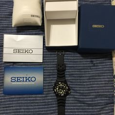 Seiko number 5 automatic divers watch In great to mint condition. Only used a few times. Included is box and all paper work. Great watch. Seiko Accessories Watches