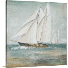Premium Thick-Wrap Canvas entitled Cape Cod Sailboat I. Painting of a sailboat gracefully traversing the seas. Our proprietary canvas provides a classic and distinctive texture. It is acid free and specially developed for our giclee print platforms. Canvas Artwork, Framed Artwork, Canvas Wall Art, Canvas Prints, Big Canvas, Framed Prints, Painting Frames, Painting Prints, Art Prints