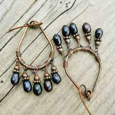 Freshwater Pearls Wire Wrapped Hoops  Antiqued by BearRunOriginals, $22.00