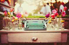 Pretty Flowers, Glass Jars and a Hermes Typewriter for Wedding Day