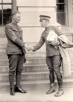 Sergeant Alvin C. York with Benjamin Butler. York was the most decorated soldier in World War I, and received the medal of honor.  It was created in 1919 by Harris & Ewing.