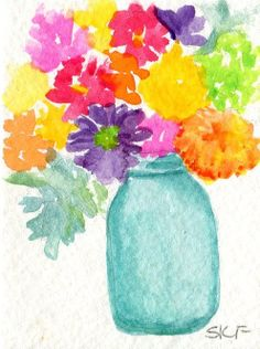 Original watercolor Colorful zinnias succulents by SharonFosterArt, $10.00 #painting #watercolor