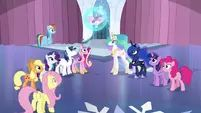 Mane Six and friends gather around Flurry Heart S6E1.png (922 KB)