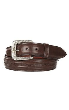 Lucchese Men's Tan Ranch Hand Brown Hobby Stitched Western Belt | Cavender's