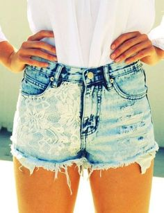 acid wash denim shorts with a lace overlay