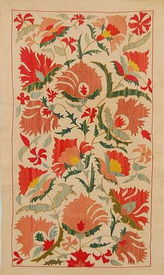 Vintage Embroidery Designs Small Uzbek Bukhara Suzani - Pretty coral, peach and green Blossoms suzani, measuring inches by 35 inches. A perfect piece for pillows, wall hanging or draping across a sofa or ottoman. Embroidery Transfers, Embroidery Patterns Free, Vintage Embroidery, Fabric Patterns, Embroidery Designs, Machine Embroidery, Textile Prints, Textile Art, Art Chinois