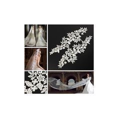 2pcs 37cm White Flower Embroidery Lace Trim DIY Sewing Needlework... ($3.58) ❤ liked on Polyvore featuring accessories and white