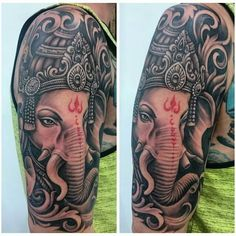 Ganesha tattoo Sweet Tattoos, Dope Tattoos, Dream Tattoos, Future Tattoos, Simple Tattoos For Guys, Unique Tattoos For Men, Unique Tattoo Designs, Ganesha Tattoo Sleeve, Bhudda Tattoo