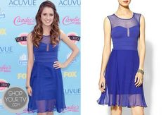 Laura Marano wore this illusion neckline royal blue dress to the 2013 Teen Choice Awards.