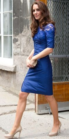 Knee Length Royal Blue Formal Dress Kate Middleton Celebrity Dress, Duchess of Cambridge, Princess Kate.