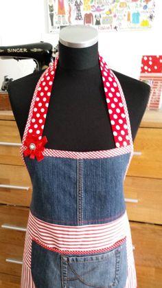 """Schürzen - """" Jeans & Tupfen """"-- Kochschürze - ein Designerstück von XBergDesign bei DaWanda"""