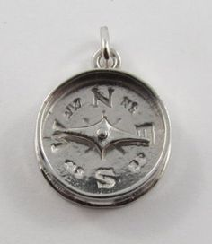 Compass Mechanical Sterling Silver Vintage Charm For Bracelet