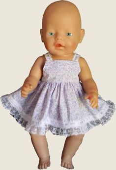 Dress with lace straps and hem - Baby Born or Cabbage Patch dolls