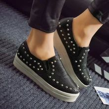 zapatos mujer 2015 Spring Summer Euro Style Ladies Slip On Flats Shoes Casual Rivets Women Sneakers A96(China (Mainland))