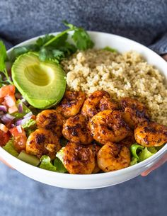 Healthy quinoa, avocado, and blackened Cajun shrimp bowls are loaded with flavor and texture. They make a light and fresh lunch or dinner! These shrimp, avocado, and quinoa bowls are my go to when …