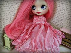OOAK Blythe Couture Luxe Princess Gown - Hand-Dyed Flamingo Pink Silk and Tulle