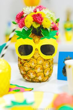 Pineapple themed birthday party via Kara Allen | Kara's Party Ideas | KarasPartyIdeas.com Love the pineapple cookies!_-17