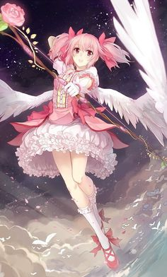 Anime Art | she could be a female Cupid, the Goddess of Love… (is there already a Goddess of Love? Because if not, she's perfect)