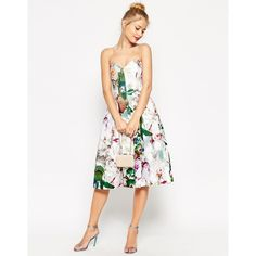ASOS Pretty Floral Rose Bandeau Midi Prom Dress ($44) ❤ liked on Polyvore featuring dresses, light gray, prom dresses, sweetheart neckline prom dress, cotton midi dress, floral print prom dresses and sweet heart rose dress
